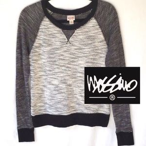 NEW MOSSIMO BLACK & CREAM CROPPED SWEATER SIZE S